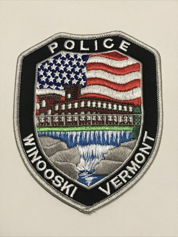 Winooski Vermont Police Dept Patch American Flag Colorful Scenic