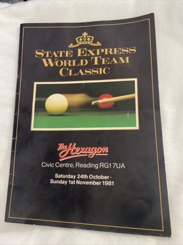 1981 Signed State Express World Team Classic Snooker The Hexagon Programme Book