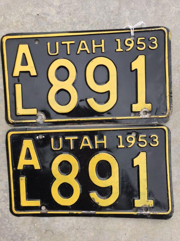1953 Utah Original PAIR License Plates