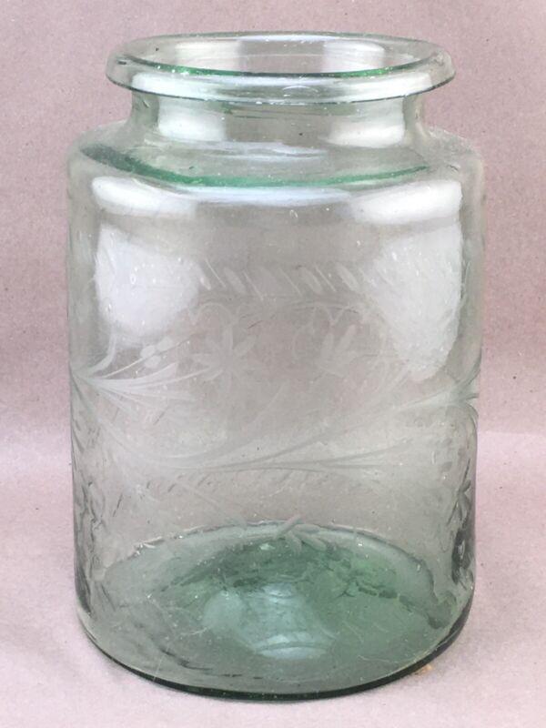 Antique Handblown Green Glass Hungarian Pickling Jar Etched Rolled Lip Pontil