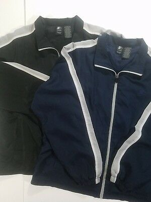 Starter Windbreaker Jacket XL Zip Up Black And Blue Lot Of 2