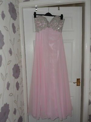 LADIES/GIRLS BEAUTIFUL PINK/SILVER GREY EMBELLISHED LONG PROM DRESS SIZE 10 (Girls Embellished Dress)