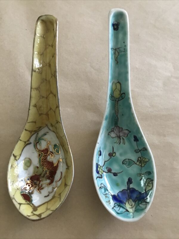 2 Different Vintage Chinese Dragon Floral Hand Painted Enamel Soup Spoons