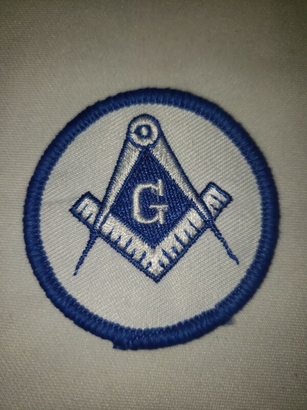 """Square & Compass Round Embroidered Masonic Patch  White & Blue 2 1/8"""" Diameter"""