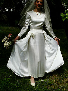 Vtg-Original-50s-Ivory-Duchess-Satin-Long-Wedding-Dress-Size-8-10-Stunning