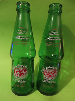 CANADA DRY SODA GREEN  BOTTLE GINGER ALE  2 BOTTLES 7.5 INCHER FRENCH ENGLISH