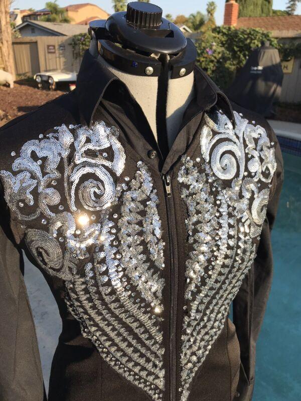 Western pleasure trail Reining sequin horse show Vest Classic Silver And Black