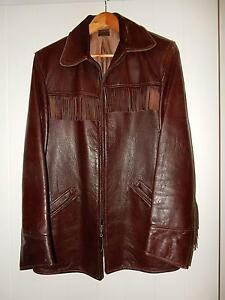 VINTAGE 1950'S MEN'S FRINGED LEATHER JACKET Casuarina Tweed Heads Area Preview