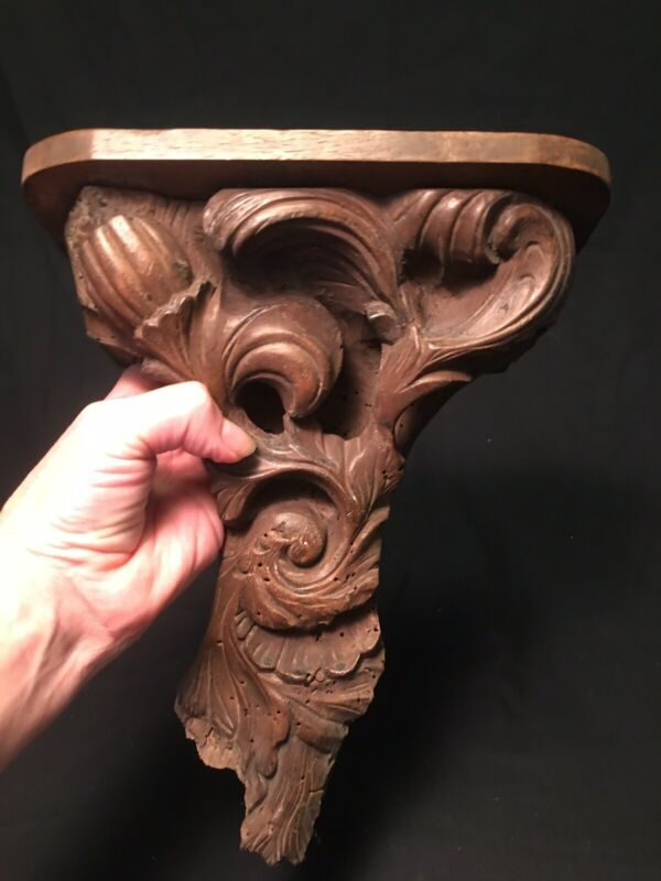 Antique German Hand Carved Black Forest Wood Wall Shelf Dated 1887 On Back