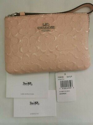New Tag removed,Coach Signature Debossed Patent Leather Corner Zip Wristlet