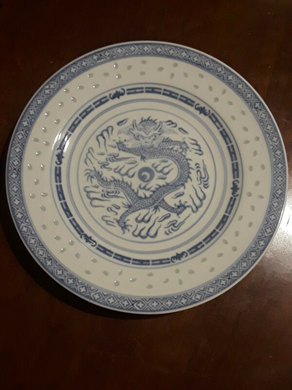 "Set Of 4 Old  Vintage Marks  Blue Transfer Chinese Dragon 9""  Plates"