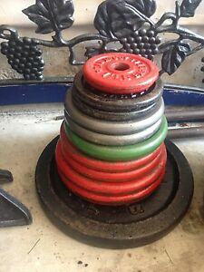 224lbs of rust free weight plates