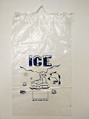 Clear 10 LB / LBS Plastic Ice Bag Bags 100 PCs with Drawstring Free Shipping NEW