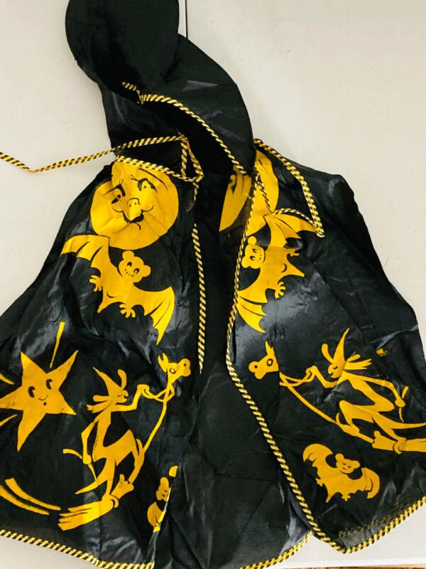 Vintage Silk 30s 50s Halloween Witch bat Black cat Cape Costume ben cooper?