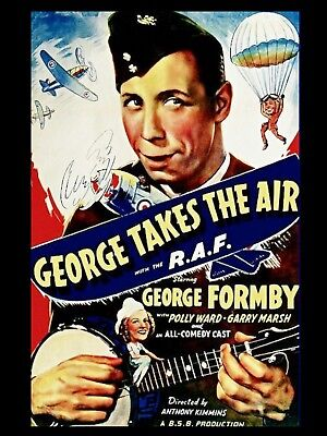 """George takes to the Air GEORGE FORMBY 16"""" x 12"""" Reproduction Movie Poster Photo"""