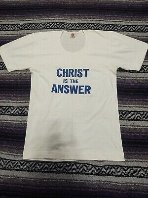 1940s Men's Shirts, Sweaters, Vests Vintage 1940s Red Shell Brand Christ is the Answer T Shirt Baptist Church 50 $149.90 AT vintagedancer.com
