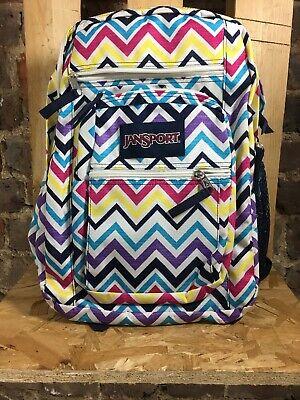 Jansport Big Student Backpack ~ White Stripe  ~ One Size ~ USED DEFECT. KF001