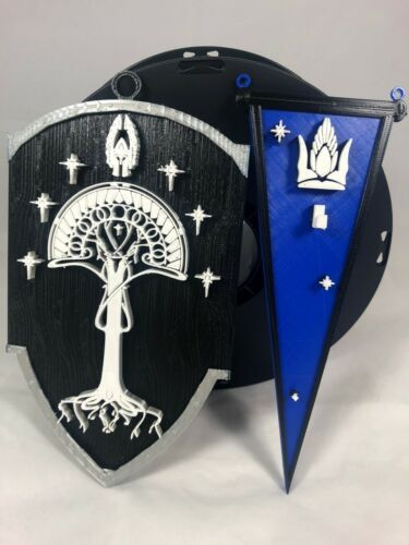 3D Lord of the Rings Inspired Gondor Shield & Banner Wall Sign 2pc Set Gondor