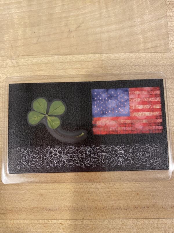 Real 4 Leaf Clover Laminated With USA Flag Card