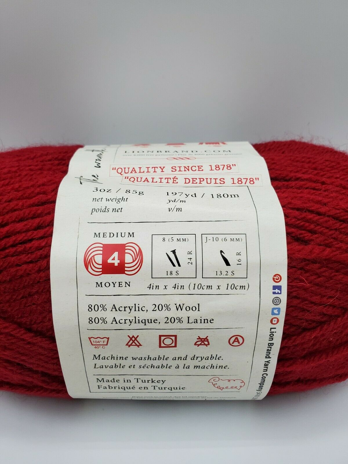 Lion Brand Wool-Ease Yarn Cranberry Color 3 Oz/85g 197yds/180m Medium Worsted - $5.60