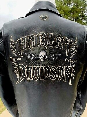 Harley Davidson RELIC Men's Willie G Winged Skull Black Leather Jacket Large