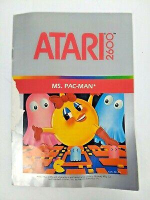Ms. Pac-Man Atari 2600 Game Manual Open Free Shipping