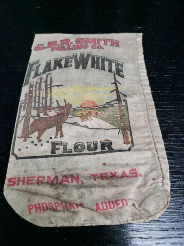 ANTIQUE VINTAGE G.B.R. SMITH MILLING CO. FLAKE WHITE  FLOUR SACK SHERMAN, TEXAS