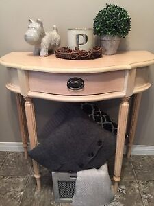 Blonde wood console table hall table