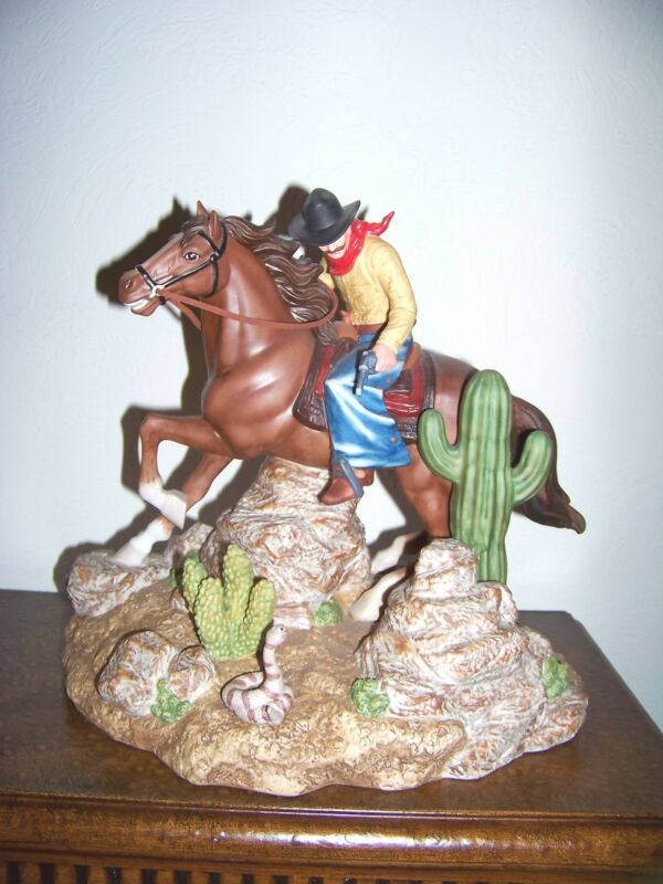 4 Aces Cowboy On A Horse Shooting At A Rattlesnake 1/2 Gallon  Decanter