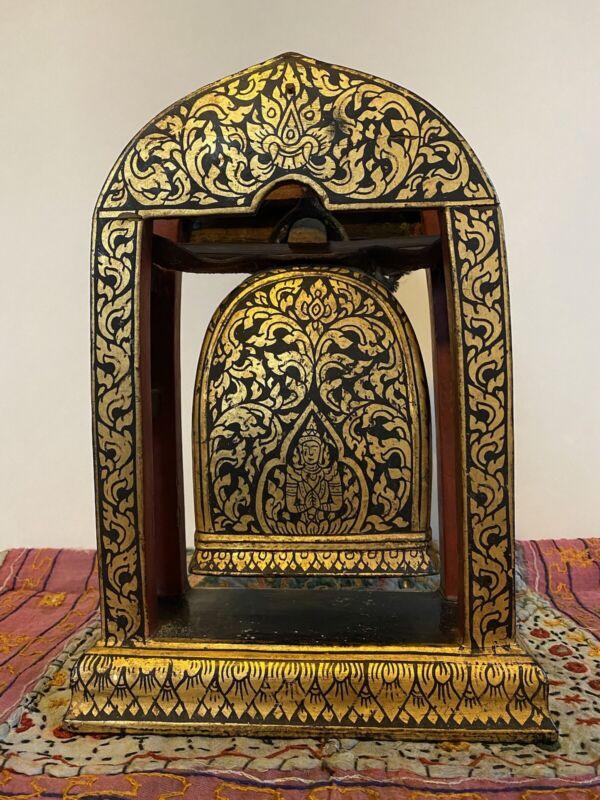 RARE 19th Century Rattanakosin Era Siamese Buddhist Temple Gilted Bronze Bell