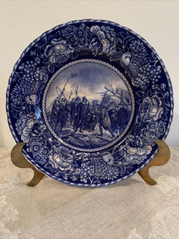 LANDING OF THE PILGRIMS FLOW BLUE PLATE Staffordshire England Antique Plate