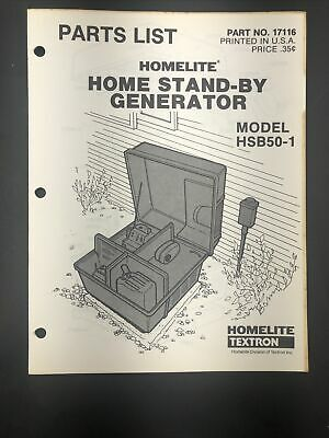 Oem Vintage Homelite Hsb50-1 Home Stand-by Generator Parts List Manual 17116
