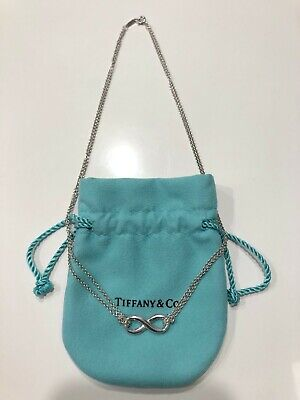 Tiffany & Co. Infinity Double Chain Pendant Necklace 925 Sterling Silver
