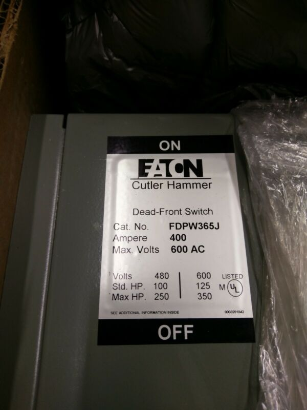Eaton Cutler Hammer Westinghouse 400a Amp Dead Front Switch Fdpw365j 600v 3ph