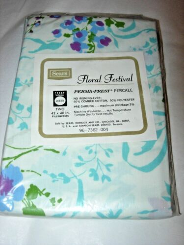 2 VINTAGE MID CENTURY MOD QUEEN SIZE Pillow Cases FLORAL SHABBY Cottage Chic