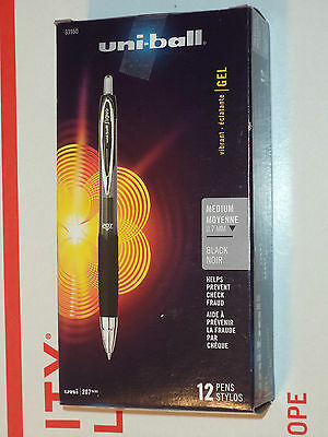12 Uni-ball 207 0.7 Mm Gel-ink Retractable Pens Black Medium 33950 070530339505