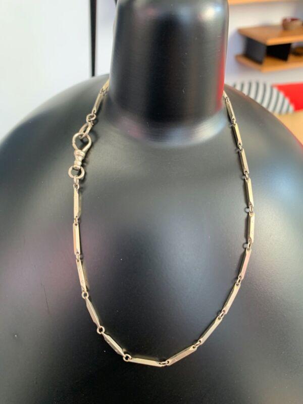 "Victorian 14k White Gold, Fancy Delicate Fob Watch Chain 13"" Long"
