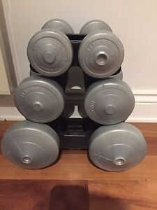 Dumbbell set. 2, 5 & 10lbs sets with stand
