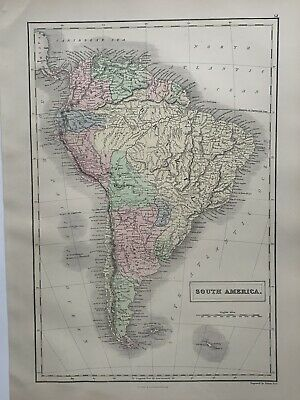 1854 South America Hand Coloured Original Antique Map