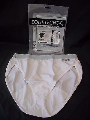 Ladies Horse Riding Underwear Bikini Brief Classic White Medium Equetech