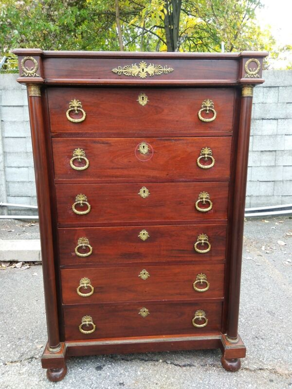 French Empire Large Chest of Drawers Bronze Mounted 56.5X21.5X37.5 Ca.1900