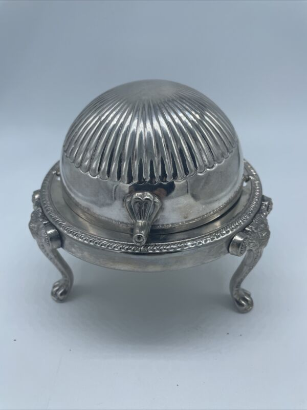 Vintage Leonard Rolltop SILVERPLATE BUTTER CONDIMENT DISH with glass dish