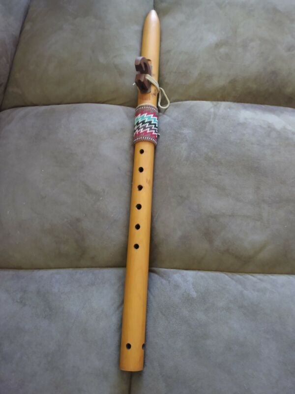 Native American Indian Wooden Flute Signed and  Owned by Texas songwriter