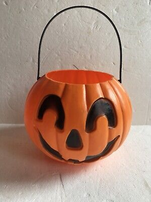 Blow Mold Halloween Black and Orange Pumpkin Candy Pail Union Products