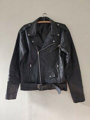 Leather biker Jacket, Black, Size 42, Condition Used