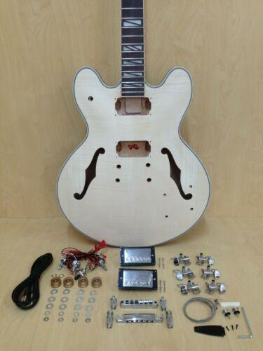 Complete No-Solder E-272MA-DIY Semi-Hollow Body Electric Guitar DIY Kit,Set Neck