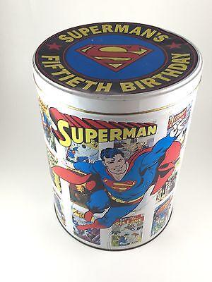 Vintage 1987 Superman's Fiftieth Birthday Tin Bucket. Bin. DC Comics - Superman Bucket