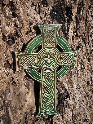 Green Celtic Cross Wall Hanging Religious Decor Wood Crucifix Home Decor