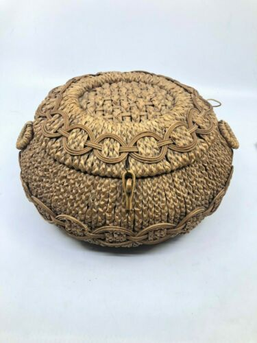 Wonderful Design Antique Sewing Basket Casket Woven