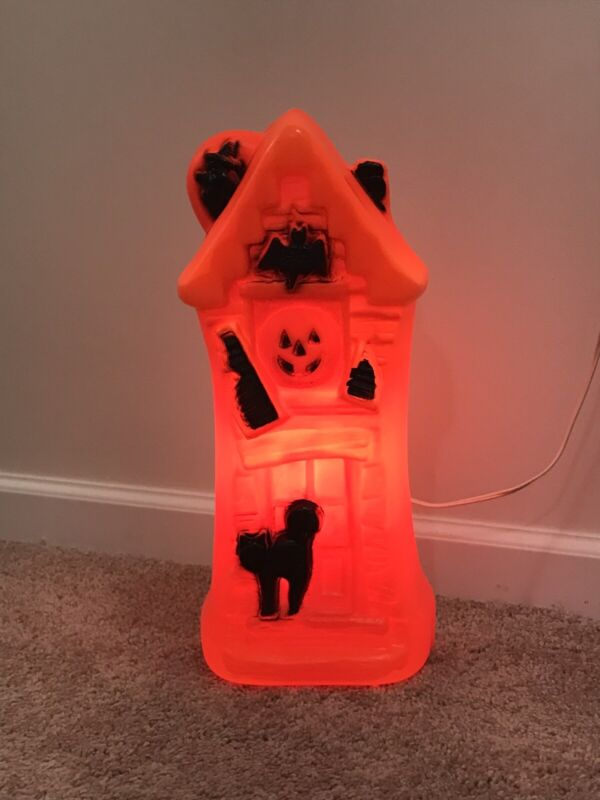 Vintage Halloween Haunted House Blow Mold Light-Up with Power Cord & Bulb
